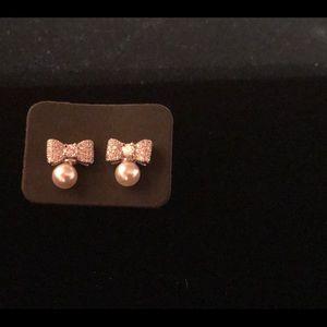 18K W.Gold Filled Bow  Pearl Earrings